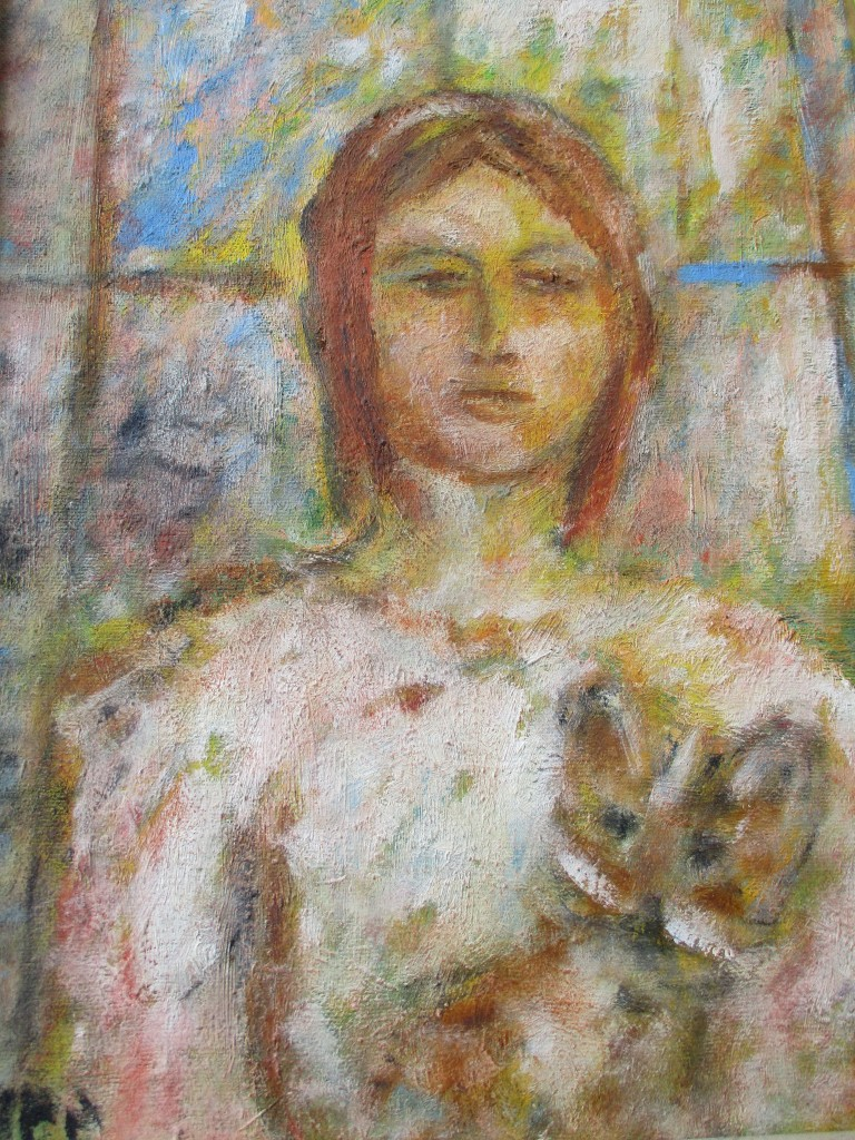 Girl with cat-oil on canvas-30x40cm