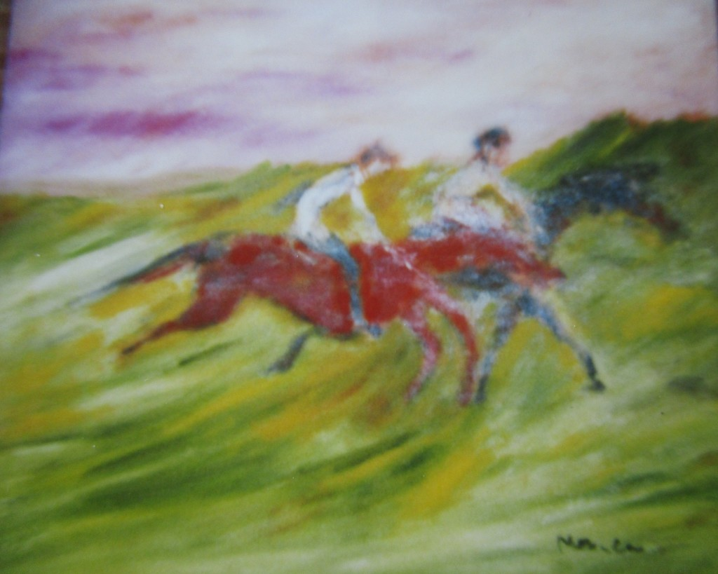 Horse racing-oil on canvas-50x60cm