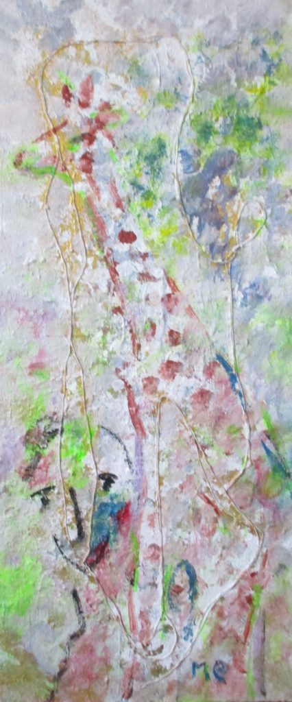 Giraffe-mixed media on canvas-30x70cm